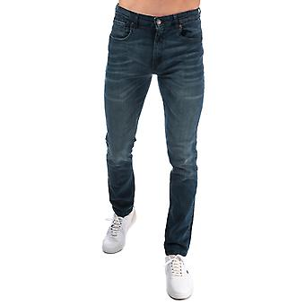 Mens Ringspun Sparta Relaxed Slim Fit Jeans In Denim- Stone Wash- Zip Fly- Tonal