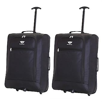 Slimbridge Montecorto Set of 2 Cabin Luggage Bags, Black (SET OF 2)