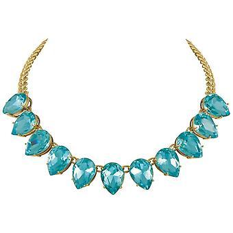 Eternal Collection Seduction Teardrop Aquamarine Crystal Gold Tone Fashion Necklace