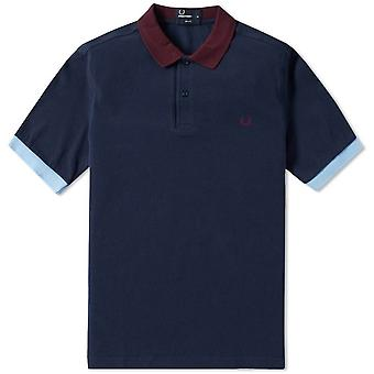 Fred Perry Men's Colour Block Pique Polo Shirt Slim Fit Short Sleeved