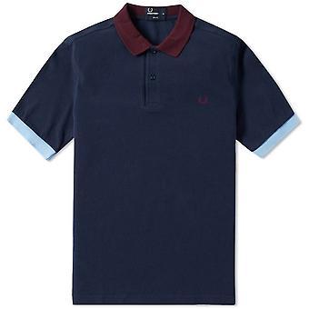 Fred Perry mäns färg Block Pique Polo skjorta Slim Fit kort ärm