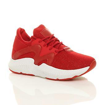 Ajvani dame chunky sål lace up glitter mesh gym træner sneakers