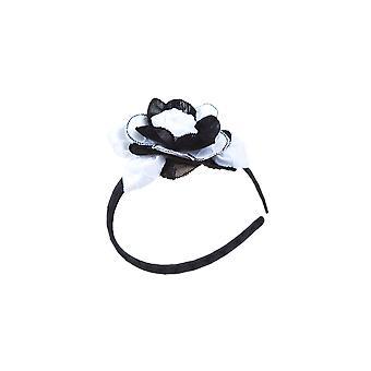 Black and white flower girl headband