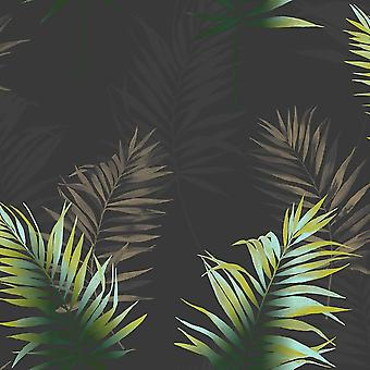 Negro verde hoja de la hoja papel pintado tropical selva tropical pasta pared fina decoración Kalani