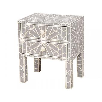 Libra Furniture Blue Grey Bone Inlaid Geometric 2 Drawer Chest