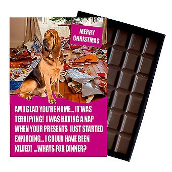 Bloodhound Funny Christmas Gift For Dog Lover Boxed Chocolate Greeting Card Xmas Present