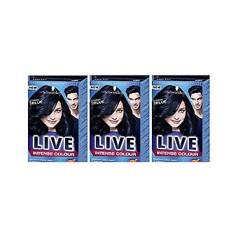 Schwarzkopf LIVE Intense 090 Cosmic Blue Pro Permanent Hair Colour Dye x 3