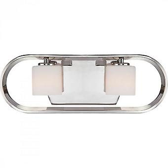 Quoizel UPTR8602IS Uptown Theater Row 2-Light Bath Fixture, Imperial Silver