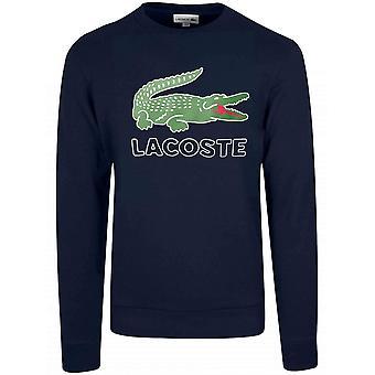 Lacoste Sport Navy Blue Logo Round Neck Jumper