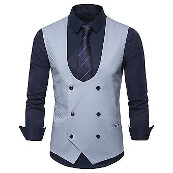 Allthemen Men's Double-Breasted U-Neck Baquet Business Casual Suit Vest 4 Colors