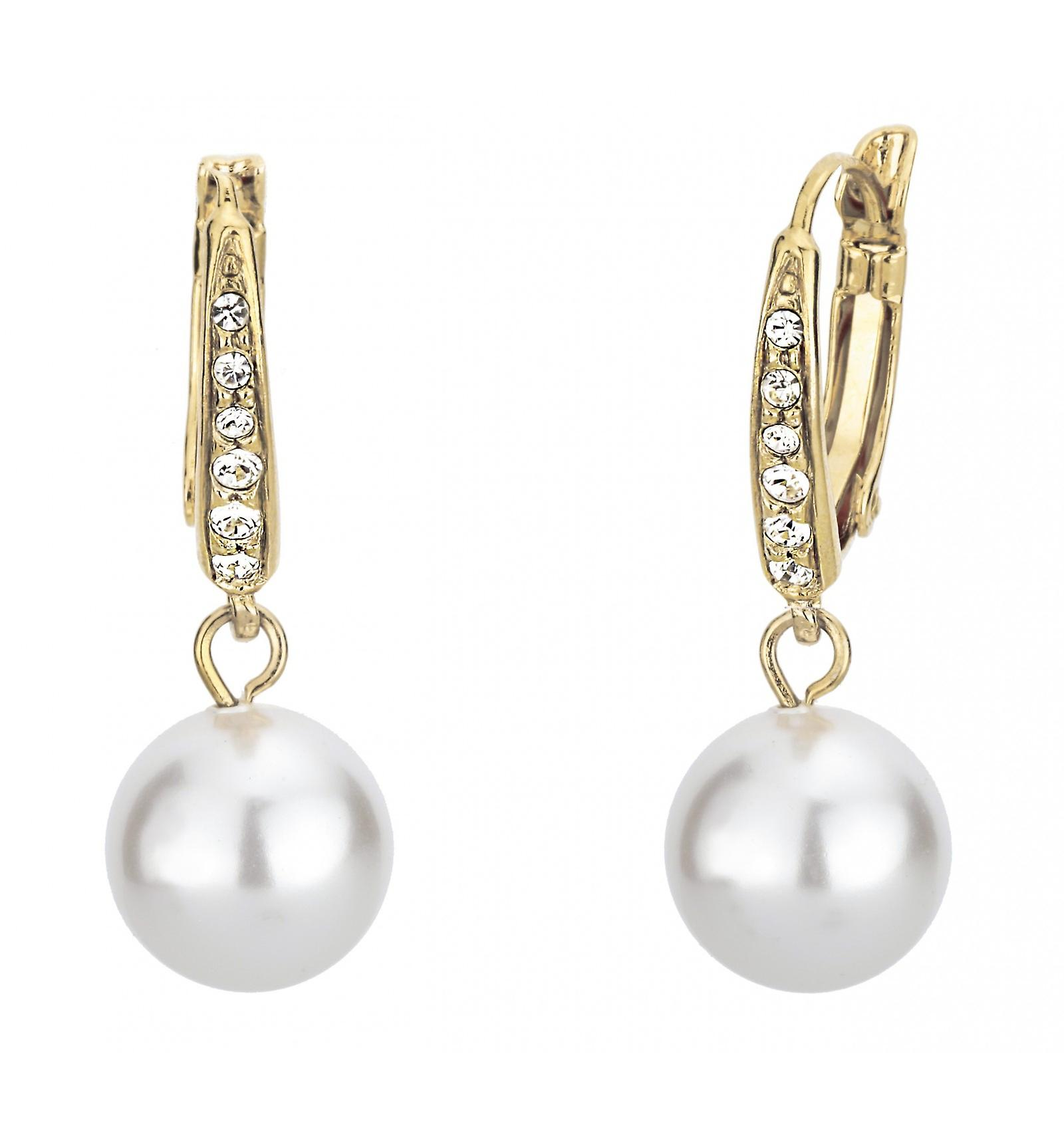 Traveller drop earring - leverback - 10mm white pearl - 22ct gold plated - 114143