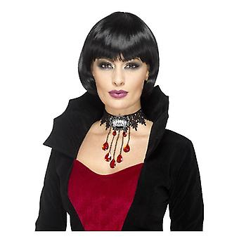 Deluxe Gothic Vamp Choker, Black, with Metal Brooch
