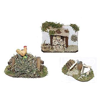 Misthaufen with hen, wooden cover and hackstick for nativity nativity crib accessories