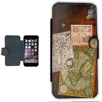 Oude kaarten iPhone 6/6s Wallet Case Pouch portemonnee shell