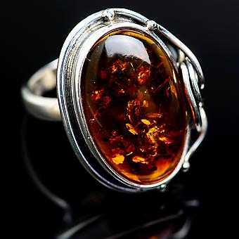 Baltic Amber Ring Size 6.5 (925 Sterling Silver)  - Handmade Boho Vintage Jewelry RING978115