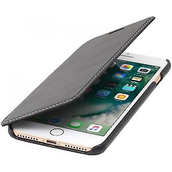 Case For iPhone 8 Plus/7 Plus Book Type Black Nappa In True Leather Without Closing Clip