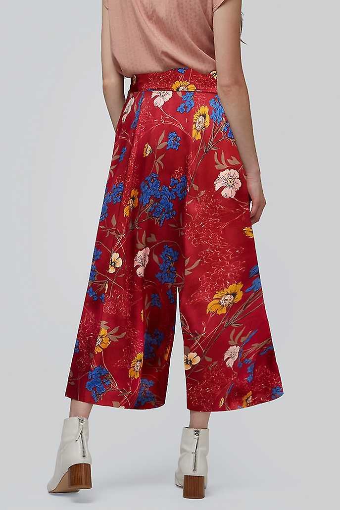 Louche Gatley Satin Floral Print Trouser Red