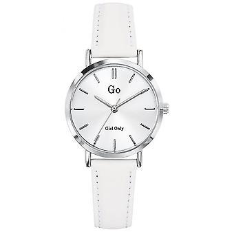 Montre Go  Girl Only 698931 - Bo�tier Acier Argent Bracelet Cuir Blanc Cadran Blanc Femme