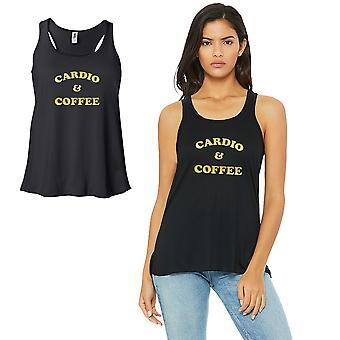 Cardio And Coffee-GOLD Work Out Womens Black Tank Top