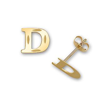 14k sárga arany levél neve személyre szabott monogram kezdeti D bélyegzés a fiúk vagy lányok fülbevaló intézkedések 6x7mm