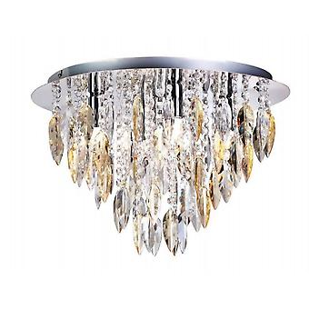 THLC Willazzo Round 5 Light Flush Ceiling Fitting In Polished Chrome With Champagne Droplets