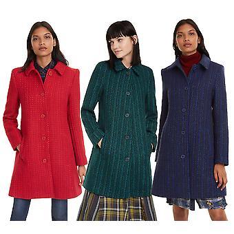 Desigual Women's Noa Formal Woven Coat with Collar