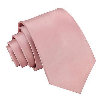Zakurzony różowy zwykły satyna slim krawat