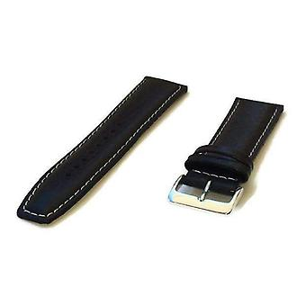 Buffalo grain watch strap black padded white stitched with chrome buckle