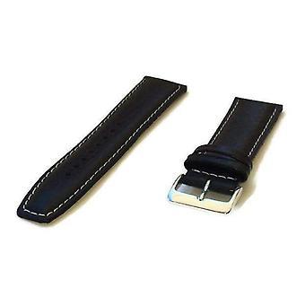 الجاموس الحبوب ووتش حزام أبيض مبطن أسود مخيط مع مشبك الكروم