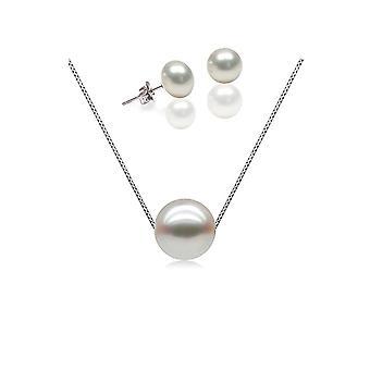 Parure Collier et Boucles d'oreilles Femme Argent 925/1000 et Perle de Culture d'eau douce Blanche 7795