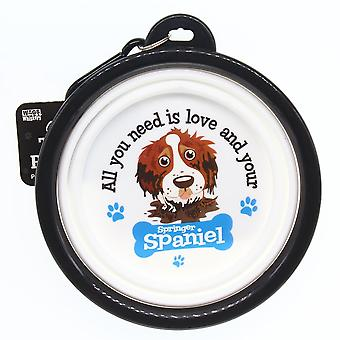 Wags & Whiskers Travel Pet Bowl - Springer Spaniel
