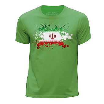 STUFF4 Boy's Round Neck T-Shirt/Iran/Iranian Flag Splat/Green