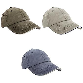 Result Washed Fine Line Cotton Baseball Cap With Sandwich Peak (Pack of 2)