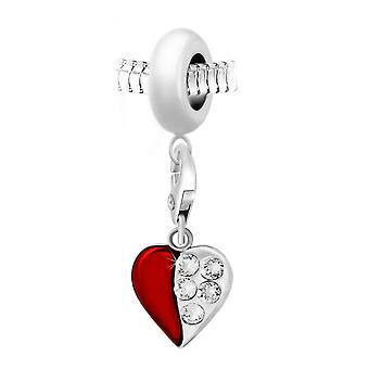 Charm pärla rött hjärta orn av Swarovski kristaller av SC Crystal Paris BEA0044-CH0385-silver