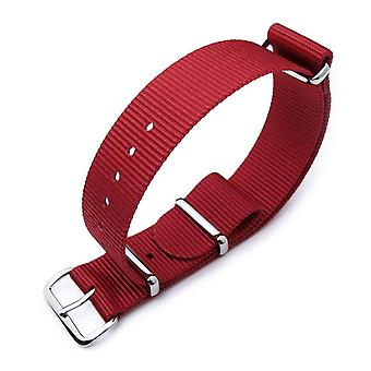 Strapcode n.a.t.o watch strap miltat 18mm or 20mm g10 military watch strap ballistic nylon armband, polished - red