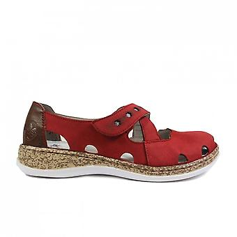 Rieker 46356-33 Red Leather Womens Rip Tape Summer Shoes