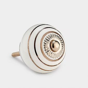 Keramik Türknopf - weiß / Silber - Streifen