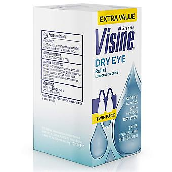 Visine dry eye relief lubricant eye drops, twin pack, 1 ea
