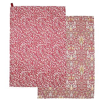 Morris & Co Snakeshead Set of 2 Tea Towels, Claret