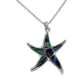 TOC Natural Paua Shell Silvertone Large Starfish Pendant Necklace 18