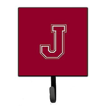 Letter J Initial Monogram - Maroon and White Leash Holder or Key Hook