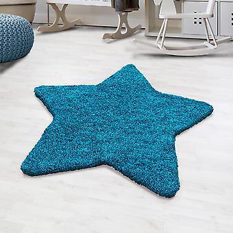 Shaggy høj flor tæppe ensfarvet turkis stjerne form børns tæppe børneværelse mat