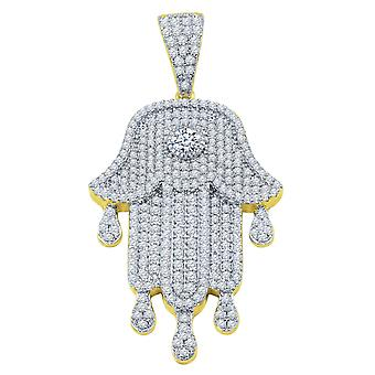 925 Sterling Silber Micro Pave Anhänger - KHAMSA gold