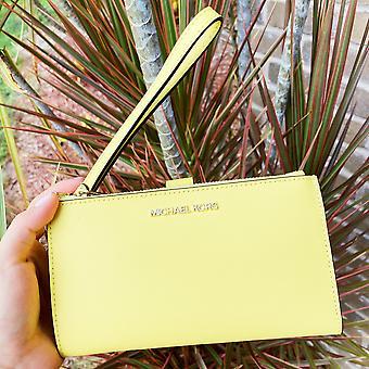 Michael kors jet set large double zip wristlet wallet sunshine yellow saffiano