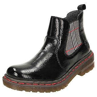 Rieker Flat Patent Chelsea Ankle Boots Zip 76264-00
