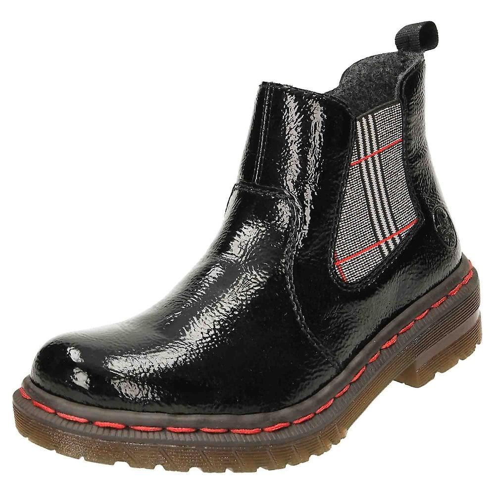 Rieker Flat Patent Chelsea Ankle Boots Zip 76264-00 hcc4A
