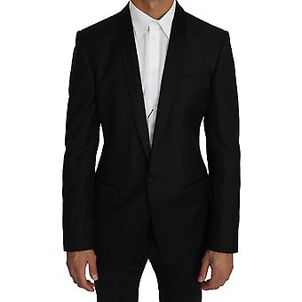 Dolce & Gabbana Black Wool Silk GOLD Blazer Jacket