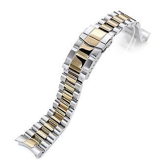 سوار ساعة Strapcode 22mm endmill 316l سوار مشاهدة الفولاذ المقاوم للصدأ لs seiko skx007، واثنين من لهجة IP الذهب، المشبك الغواصة
