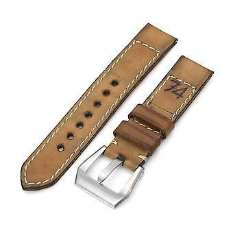 Sangle de montre en cuir de veau strapcode 21mm gunny x mt & apos;74' bracelet de montre en cuir à libération rapide à la main brun clair #42