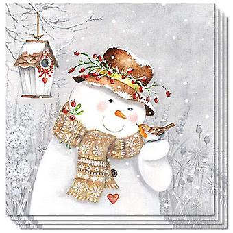 Ambiente 3 Ply Paper Napkins, Snowman Holding Robin